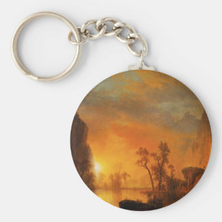 Sunset in the Rockies Basic Round Button Keychain
