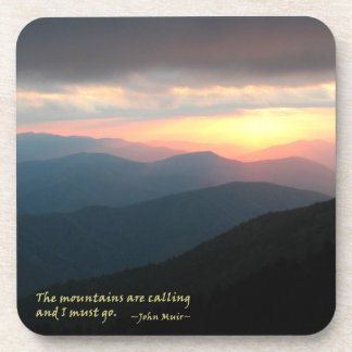 Sunset in the Smokies: Mtns are calling / Muir Drink Coaster