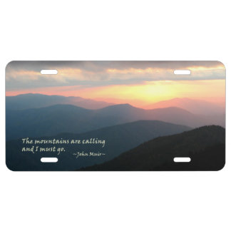 Sunset in the Smokies: Mtns are calling / Muir License Plate