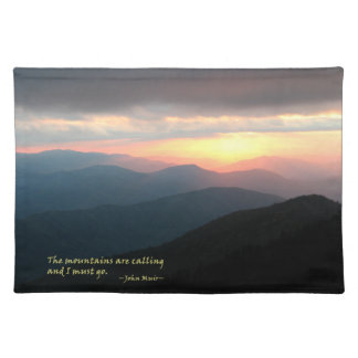 Sunset in the Smokies: Mtns are calling / Muir Cloth Place Mat