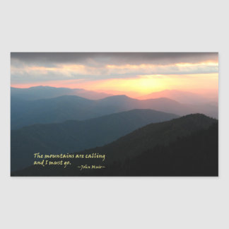 Sunset in the Smokies: Mtns are calling / Muir Rectangular Sticker