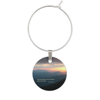 Sunset in the Smokies: Mtns are calling / Muir Wine Glass Charms