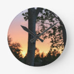 Sunset in the Trees Round Clock