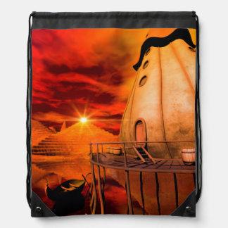 Sunset in the wonderland drawstring backpack