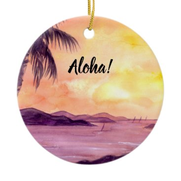 Beach Themed Sunset in Tropics by Farida Greenfield Ceramic Ornament