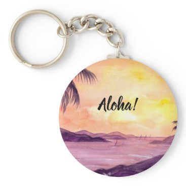 Beach Themed Sunset in Tropics by Farida Greenfield Keychain