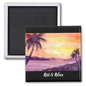 Beach Themed Sunset in Tropics by Farida Greenfield Magnet