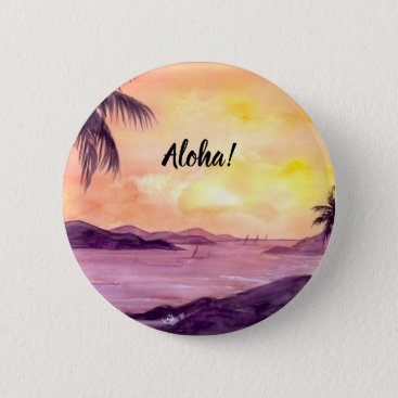 Beach Themed Sunset in Tropics by Farida Greenfield Pinback Button