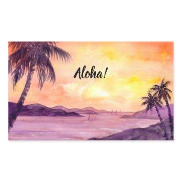 Beach Themed Sunset in Tropics by Farida Greenfield Rectangular Sticker