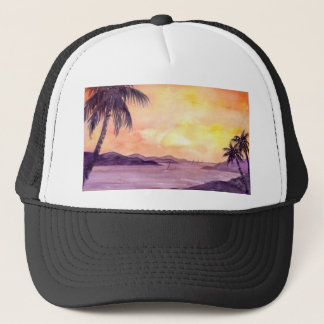 Sunset in Tropics by Farida Greenfield Trucker Hat