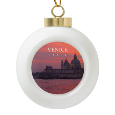 Sunset in Venice Ceramic Ball Christmas Ornament