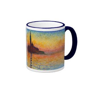 Sunset in Venice, Claude Monet Ringer Coffee Mug
