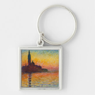 Sunset in Venice, Claude Monet Silver-Colored Square Keychain