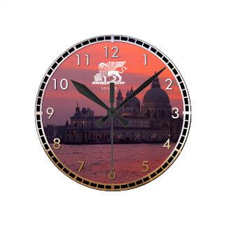 Sunset in Venice Round Clock
