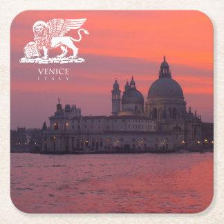 Sunset in Venice Square Paper Coaster