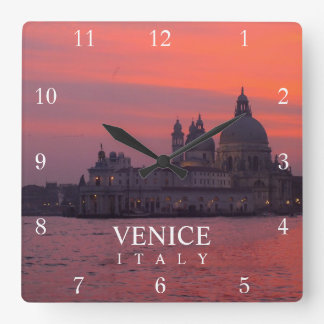 Sunset in Venice Square Wall Clock