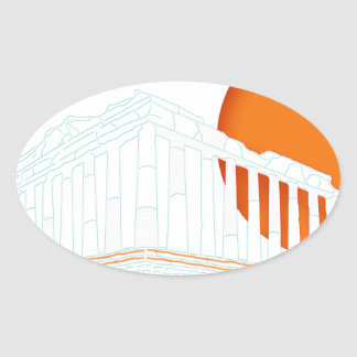 sunset inside Parthenon Oval Sticker
