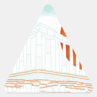 sunset inside Parthenon Triangle Sticker