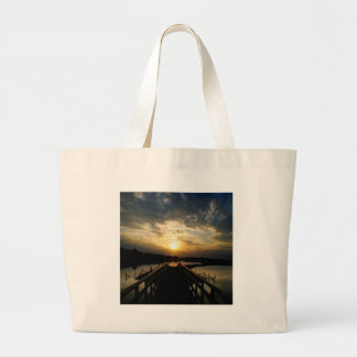 Sunset Into The Jetty Tote Bags