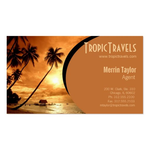 Sunset island travel agency business card zazzle for Travel agent business card