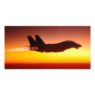 sunset jet fighter personalized photo card
