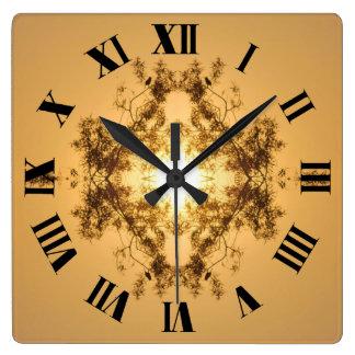 Sunset Kaleidoscope Roman Square Wall Clock