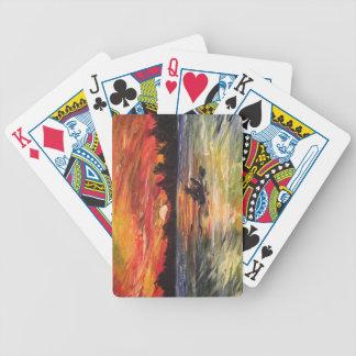 Sunset Kayaker Painting Bicycle Playing Cards
