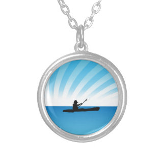 Sunset Kayaking Canoe Silhouette Silver Plated Necklace