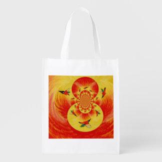 Sunset kingfisher Art Grocery Bag