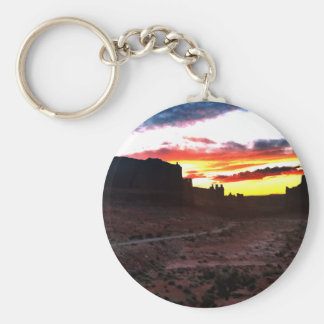Sunset La Sal Mountains Viewpoint Arches National Basic Round Button Keychain