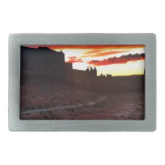 Sunset La Sal Mountains Viewpoint Arches National Rectangular Belt Buckle