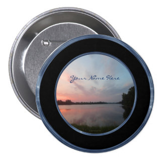 Sunset Lake 3 Inch Round Button