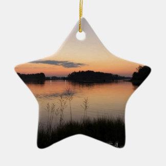 Sunset Lake Ceramic Ornament
