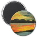 Sunset Lake Fridge Magnets