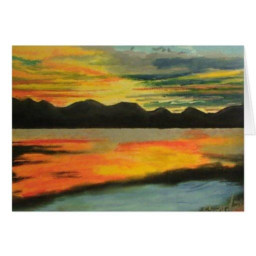 Sunset Lake Greeting Cards