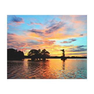 Sunset Lake Landscape Photo Canvas