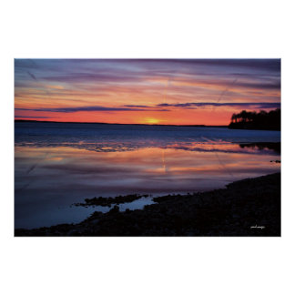 Sunset Lake Mendota Early March Madison Wisconsin Poster