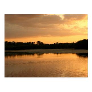 Sunset lake postcard
