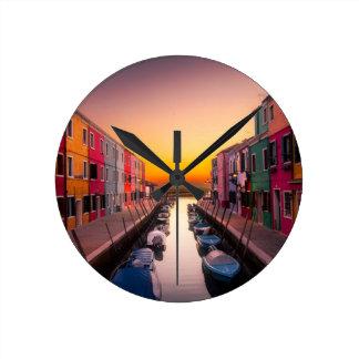Sunset Lake Round Clock