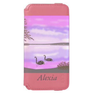 Sunset lake scene with swans, iPhone 6/6s wallet case