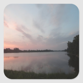 Sunset Lake Square Sticker
