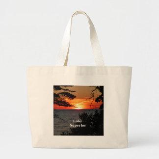 Sunset Lake Superior Large Tote Bag