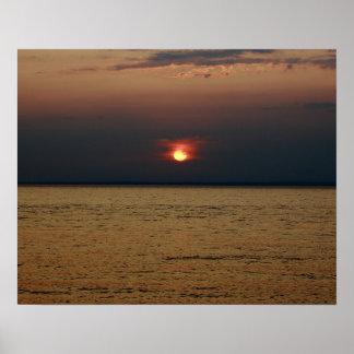 Sunset Lake Superior Poster