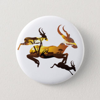 Sunset Landscape with Antelopes 3 Button