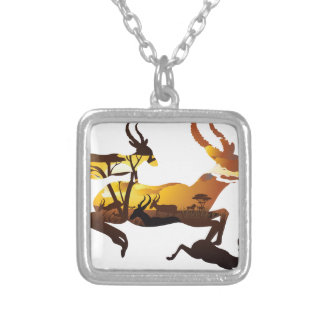 Sunset Landscape with Antelopes 3 Silver Plated Necklace