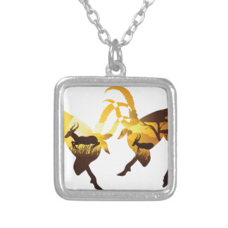 Sunset Landscape with Antelopes Silver Plated Necklace