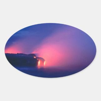 Sunset Lava Flow Ocean Twilight Oval Stickers