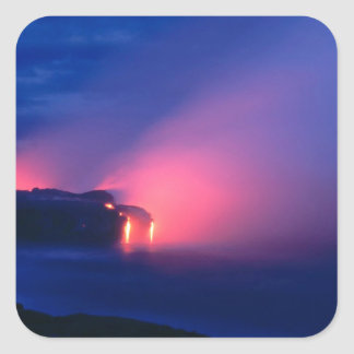 Sunset Lava Flow Ocean Twilight Square Stickers