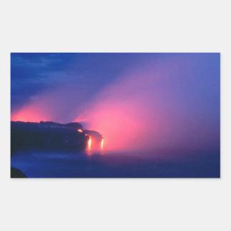 Sunset Lava Flow Ocean Twilight Rectangular Sticker