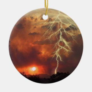 Sunset Lightening Spectacular Ceramic Ornament